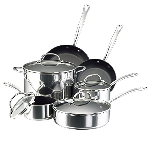 Farberware Millennium Stainless Steel Nonstick 10-Piece Cookware Set Renewed