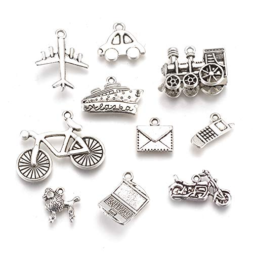 Kissitty 60Pcs Antique Silver Vacation Theme Charms Collection 14~27mm Tibetan 10 Styles Cadmium Free & Lead Free Metal Pendants with Hole for DIY Jewelry Craft Bracelet Making