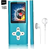 MP3 Player/Music Player,EVASA with a 16 GB TF Card Portable Digital Music Player/Video/Voice record/FM Radio/E-Book Reader,Ultra Slim 1.8Screen (Blue-16GB)