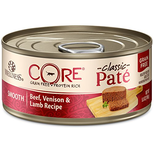 Wellness Core Natural Grain Free Wet Canned Cat Food, Beef, Venison & Lamb, 5.5-Ounce Can (Pack Of 24)