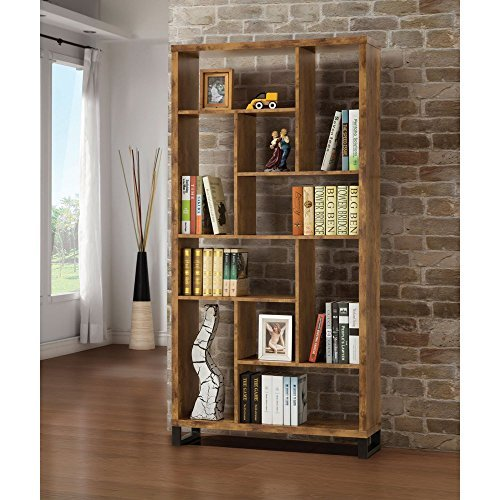 - Coaster Home Furnishings 801236 Coaster Industrial Rustic Antique Nutmeg Open Bookcase with Different Sized Cubbies,