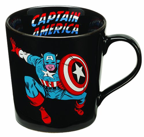 Vandor 26566 Marvel Captain America 12 oz Ceramic Mug, Black, Red, Blue, and White