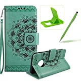 Rope Leather Case for Moto G5,Strap Wallet Case for Moto G5,Herzzer Bookstyle Classic Elegant Mandala Flower Pattern Stand Magnetic Smart Leather Case with Soft Inner for Moto G5 + 1 x Free Green Cellphone Kickstand + 1 x Free Green Stylus Pen - Green