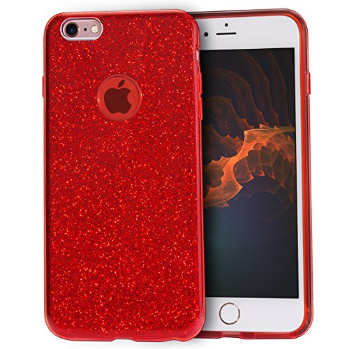 MATEPROX iPhone 6s Plus Case iPhone 6 Plus Case Glitter Slim Crystal Bling 3 Layer Hybrid Protective Case for iPhone 6s/6 Plus 5.5'' (Red) (Metallic Red Iphone 6 Plus Case)