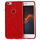 iPhone 6s Plus Case,iPhone 6 Plus Case,Milprox Bling Glitter Crystal Clear 3 Layer Hybrid Slim Fit Case for iPhone 6s Plus/6 Plus-Red