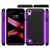 For LG X style/skin/ LS676/K200/tribute HD ,Ikevan New Fashion Shockproof Hard Hybrid Case Stand Cover Belt Clip Holster Phone Case Shell (Purple)