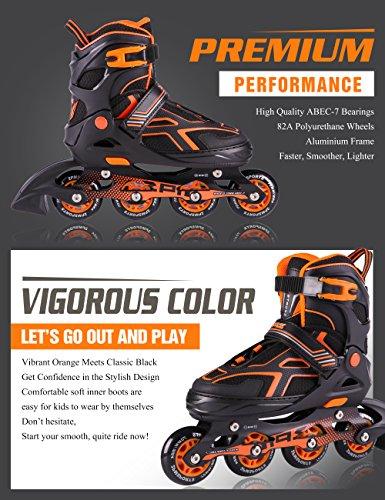 2PM SPORTS Torinx Orange Black Boys Adjustable Inline Skates, Fun Skates for Kids, Beginner Roller Skates for Girls, Men and Ladies - Medium (US 2-5) by 2PM SPORTS (Image #3)