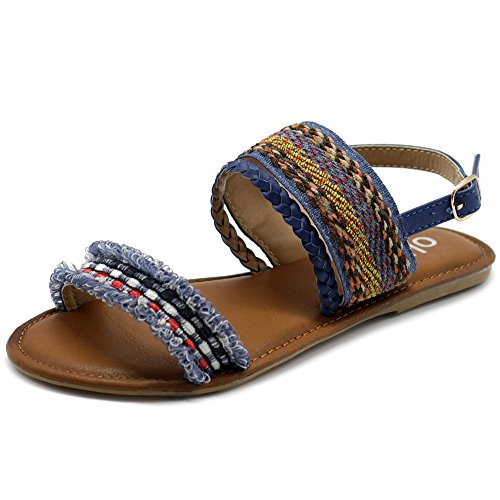 Mule Braid (Ollio Women's Shoe Ethnic Braided Denim Flat Sandal DLY04 (7 B(M) US, Blue))