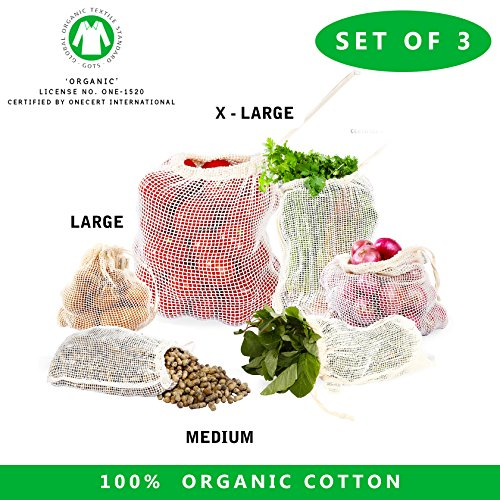 Reusable mesh produce bags - Set of 3 Reusable Cotton Mesh all cotton and linen produce bag GOTS Certified Organic cotton mesh produce bags with drawstring (Set of 3 - Medium, Large, xLarge Mesh bags) (Got Net)