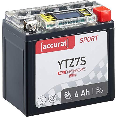 Accurat motorfiets-accu YTZ7S 6 Ah 120 A 12V gel-technologie + lcd-display startaccu krachtig robuust vibratiebestendig…