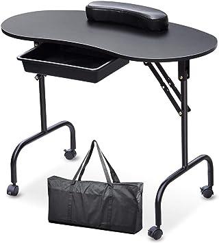 Mesa móvil Plegable portátil para uñas con polea móvil Salón de ...