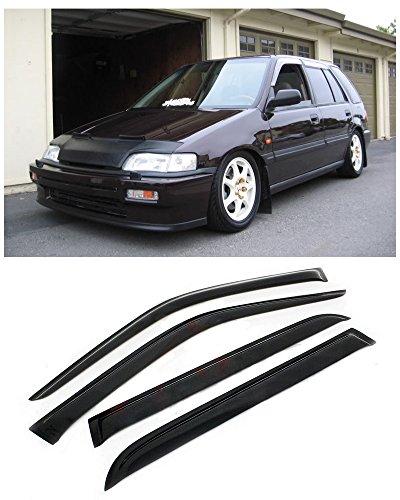 VXMOTOR 1988-1991 HONDA CIVIC WAGON 5DR SIDE WINDOW VISOR SUN/RAIN GUARD DEFLECTOR JDM (Honda Civic Wagon Wagon)