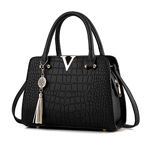 CrocodileLeather Women Bag V Letters Designer Handbags Lady Shoulder Crossbody Bags Fringed Women Messenger Bag Black 28cmX13cmX20cm