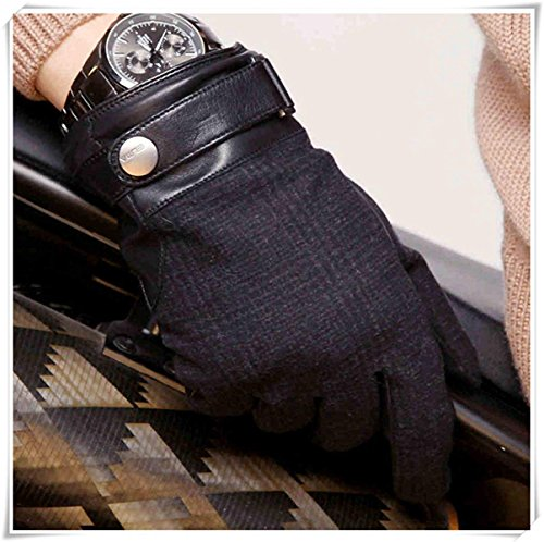 CWJ Leather Gloves Men Winter Warm Patchwork Gloves,Black,Large by CWJ (Image #1)