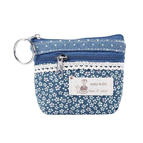 Flower Change Purse (Damara Womens Flower Cover Wallet Mini Change Coin Purse,Blue)