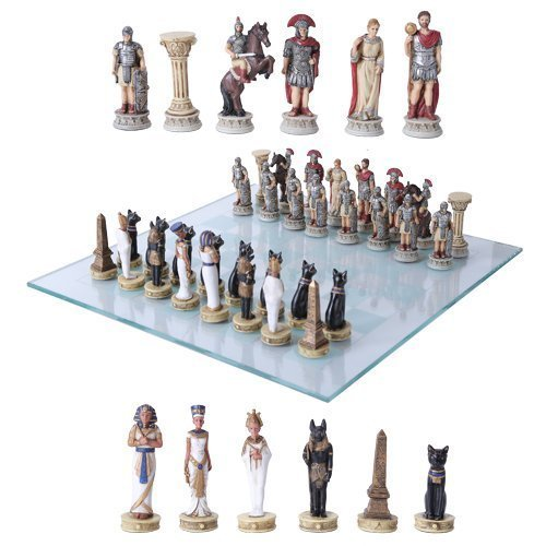 Pharaoh Egyptian Army VS Caesar Roman Empire Centurions Resin Chess Pieces With Glass Board Set by Gifts & Decors