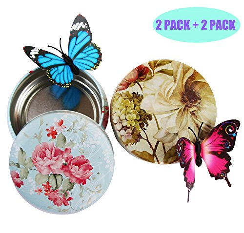 Cosylove 2 Pack Magnetic Tea Sugar Coffee Storages, Flower Round Tin Boxes, 2 Pack Butterfly Refrigerator Magnets, Perfect for Magnetic board, Fridge, Christmas, Holiday Gift (Flower Tin Boxes) (Colorful Tin Flowers Round)