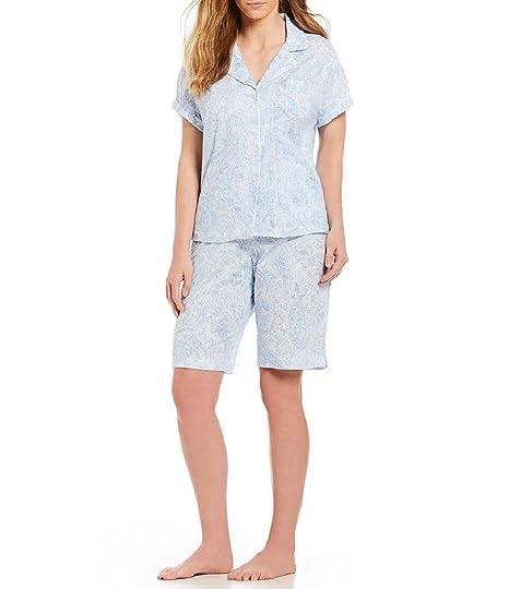 d85b10d175 Lauren Ralph Lauren Women s Notch Collar Bermuda Set Blue Paisley Print  X-Large