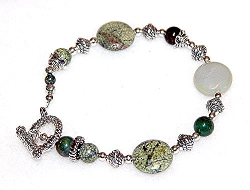 Chunky Semi-Precious Jade Bracelet - Dot Textured Ox Clasp - Silver Tone Accents (Silver Ox Link)