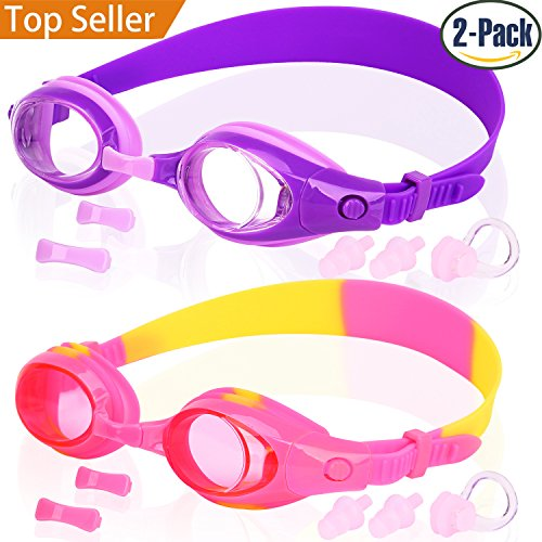 Kids Swim Goggles, Pack of 2, Swimming Glasses for Children and Early Teens from 3 to 15 Years Old, Anti-Fog, Waterproof, UV Protection, Made by - Email Goggles