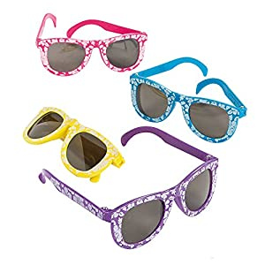 2 Set of 12 Fun Express Kids' Hibiscus Sunglasses bundled by Maven Gifts