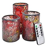 NIGHTKEY LED Mosaic Glass 3D Dancing Flame Pillar Real Wax Candle with 10-Key Control Remote and 2/4/6/8H Timer, Vanilla Scented, Pack of 3 (3''X 4''5''6'')