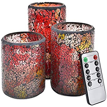 NIGHTKEY LED Mosaic Glass Dancing Flame Real Wax Pillar Candle with 10-Key Control Remote and 2/4/6/8H Timer, Vanilla Scented, Pack of 3 (3