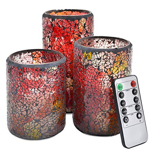 (NIGHTKEY LED Mosaic Glass Dancing Flame Real Wax Pillar Candle with 10-Key Control Remote and 2/4/6/8H Timer, Vanilla Scented, Pack of 3 (3