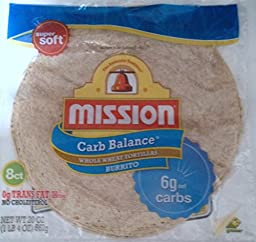 Mission Carb Balance, Whole Wheat, Burrito Size, 8 Per Package, (Pack of 2)