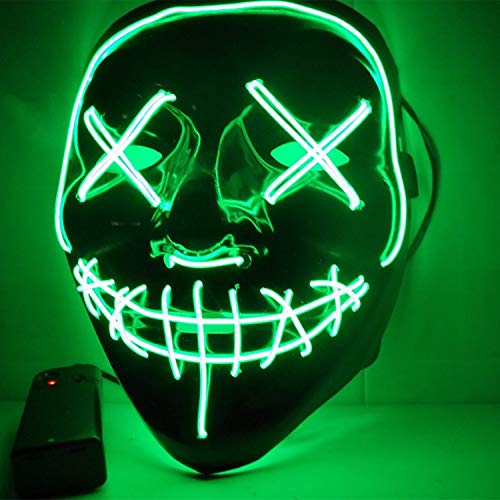 LED Light Mask Up Funny Mask from The Purge Election Year Great for Festival Cosplay Halloween Costume 2018 New Year Cosplay (N)