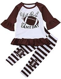 Little Girl Football Clothes Ruffles Dress Tops Striped...