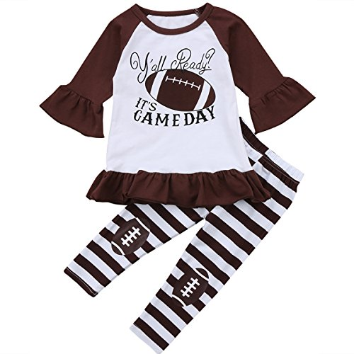 Football Dress - Little Girl Football Clothes Ruffles Dress Tops Striped Long Pant Outfits Set (Brown, 6-7 Years)
