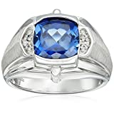 Men's Sterling Silver, Created Blue Sapphire, and Created White Sapphire Gents Ring, Size 10.5