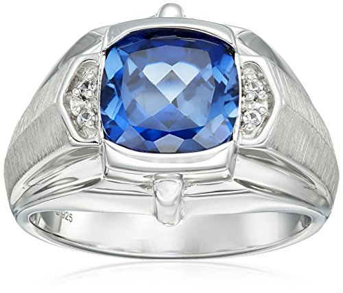 (Men's Sterling Silver, Created Blue Sapphire, and Created White Sapphire Gents Ring, Size)