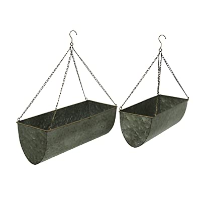 Galvanized Metal Set of 2 Indoor/Outdoor Hanging Trough Planters : Garden & Outdoor