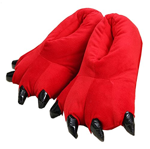 Claw Paw Red Unisex Home Costume Plush Slippers Soft LANFIRE Shoes Animal wgUqn8a0qv