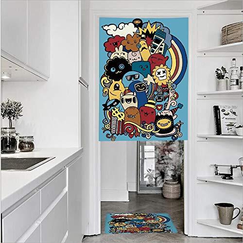 (3D Printed Linen Textured French 1 Panel Door Curtains and 1pcs Doormat Kitchen Mat Rug,Monster Universe Rainbow Stars Clouds Money Symbol Single Panel door curtain 27.6
