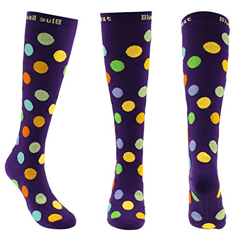Blue Beat Moderate (15-20 mmHg) Graduated Polka Dot Women Compression Socks for Running, Standing, Sitting & Travelling