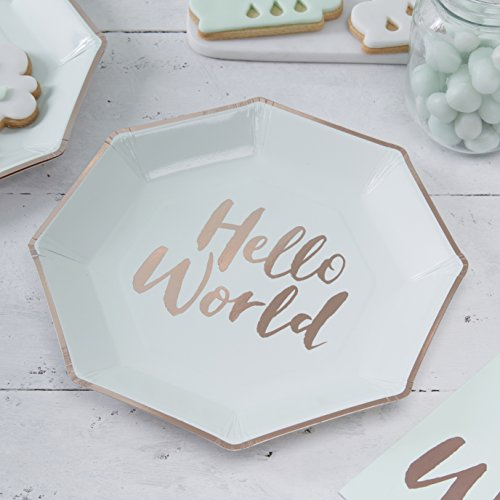 Ginger Ray Hello World Mint & Rose Gold Baby Shower Paper Plates x 8 - Hello World