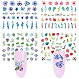 Nail Art Stickers Nail Decals for Women Girls Water Slide Nail Tattoos Paper Nail Art Accessories Color Rose Flower Leaf Manicure Fingernail Decorations Nail Polish Stencils Decor Accessories