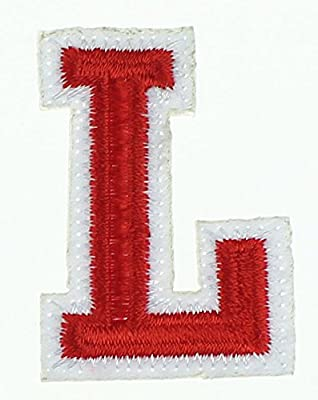 RECHERE letter Alphabet Uppercase Embroidered Iron On Patch Applique Red (L)