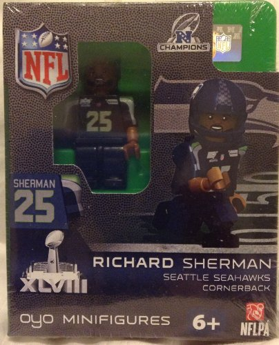 NFL Seattle Seahawks Richard Sherman Oyo Lego Lego Compatible Figure Super Bowl Édition