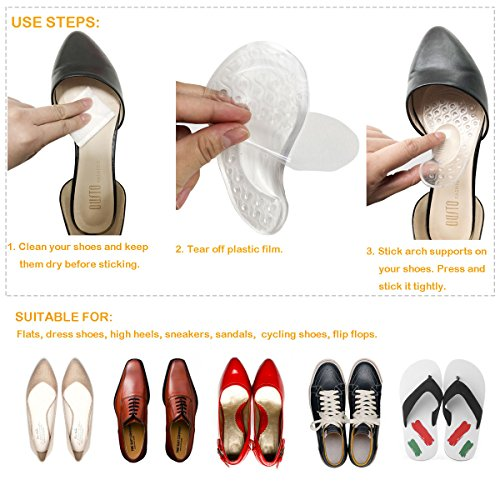 Arch Support for Flat Feet & Plantar Fasciitis, Gel Shoe Inserts Relieve Foot Pain for Women & Men (2 Pairs) by Gilife (Image #4)