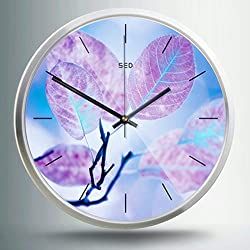 Color Map 12-Inch Large Fashion Concise Design Bedroom/living Room Round Ultra Mute Quartz Movement Metal Frame Wall Clock (Leaves, Silver)