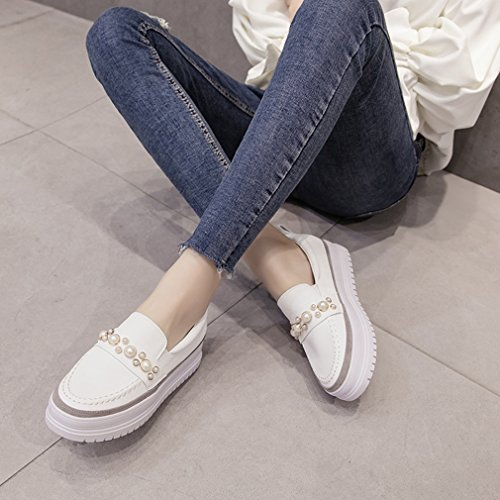 Hoxekle Womens Beaded Low Top Mid Heels Round Toe Platform Rubber Sole Slip On Loafer Shoes White eoTSHkECp