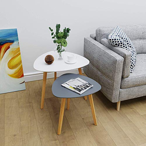 BAMEOS Bamboo Nesting Triangle End Table,Set of 2 Coffee Table Modern Minimalist Side Table for Living Room, Balcony in White & Grey