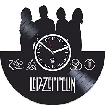 Led Zeppelin Vinyl Record Clock, Best Gift For Dad, Birthday Gift For Boy, Kovides Vinyl Wall Clock, Home Decor, Valentines Day Gift, Silent, Rock Band, Music Fans Modern Art, Wall Clock Vintage