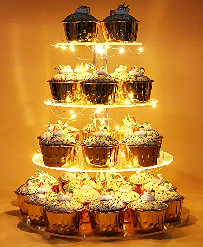 - Vdomus Pastry Stand 4 Tier Acrylic Cupcake Display Stand with LED String Lights Dessert Tree Tower for Birthday/Wedding Party (Round)