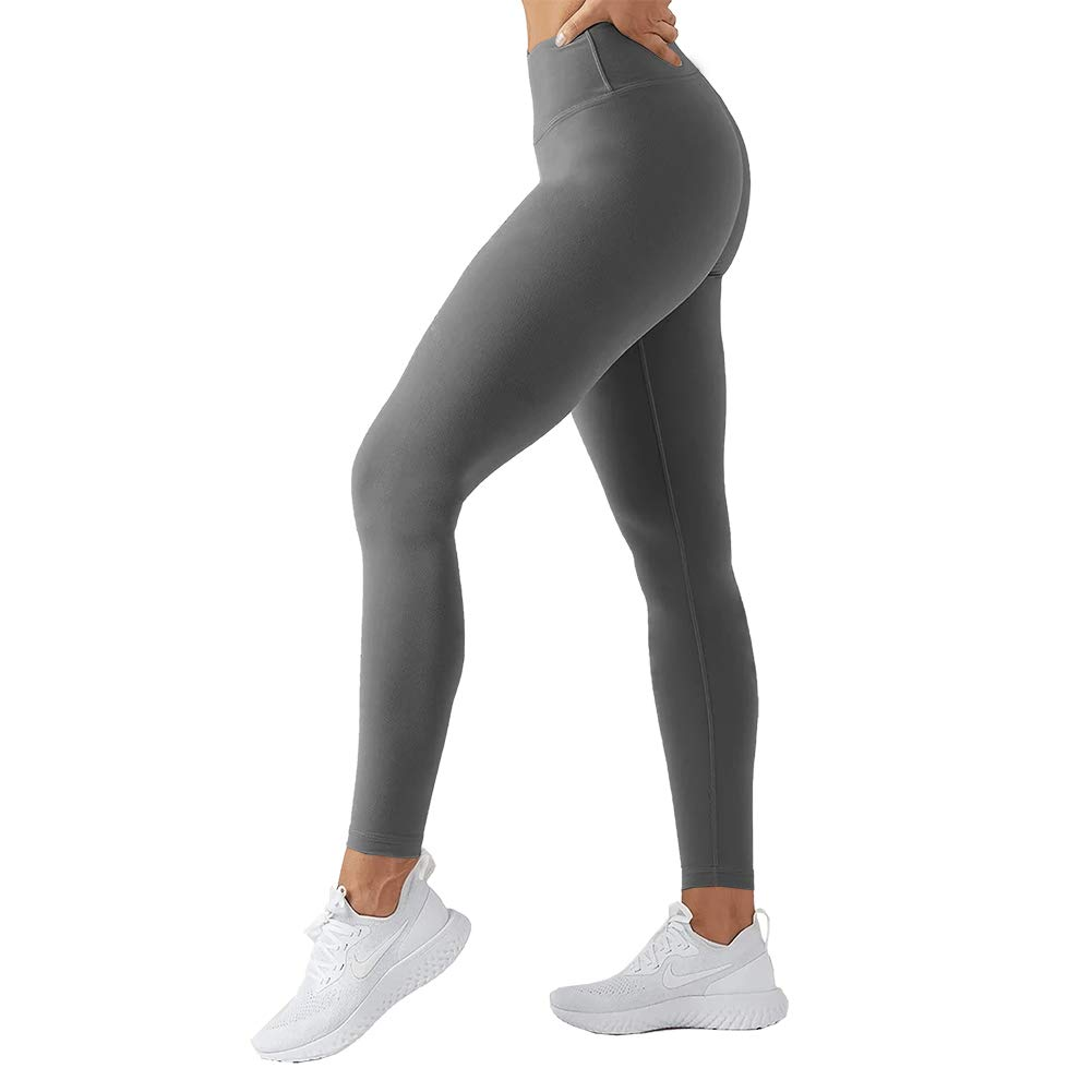 TNNZEET High Waisted Leggings for Women Girl Athletic Plus Size Yoga Pants Tummy Control Full Length Tight Elastic Grey by TNNZEET