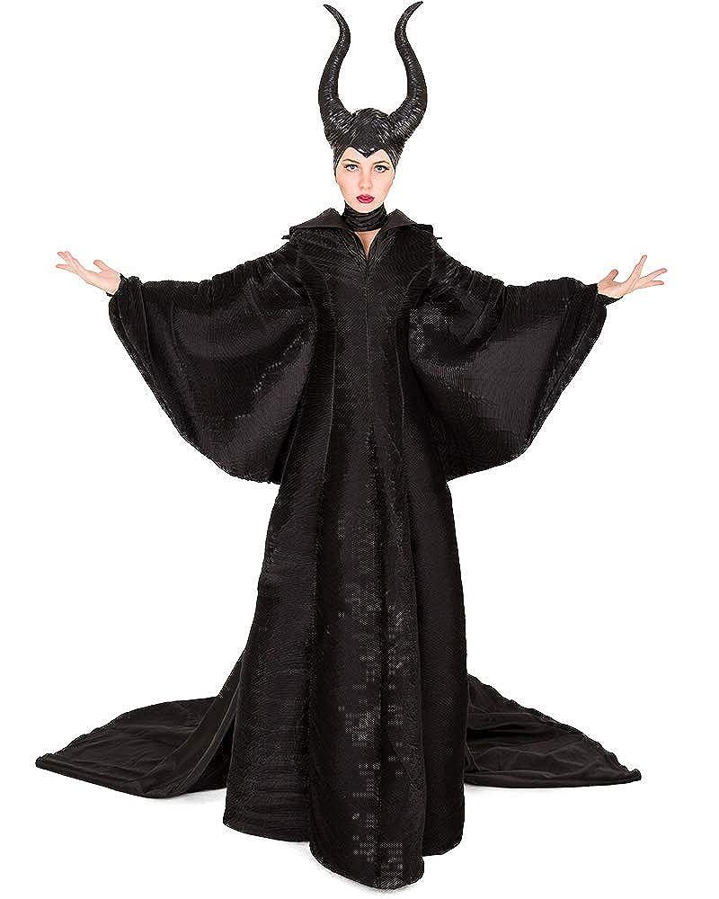 Women's Evil Queen Halloween Costume Black Gown with Horned Headpiece